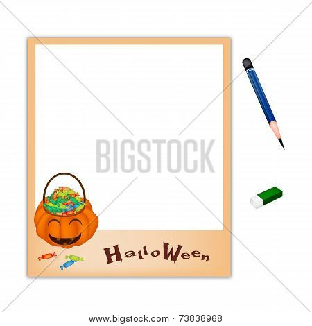 Pencil and Eraser with Jack O' Lantern Picture Frame