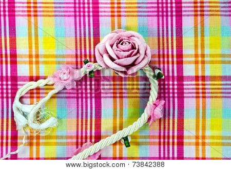 Background Pattern Of Fabric Line  With Artificial Flowers Rose