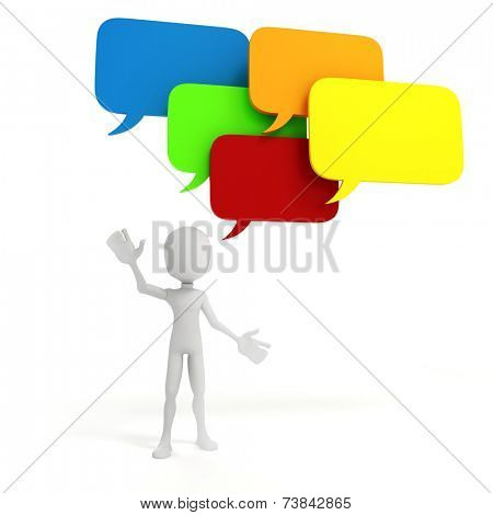 3d man and colorful bubble talk, on white background