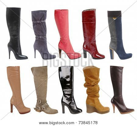 large collection of  fashion boots isolated on white