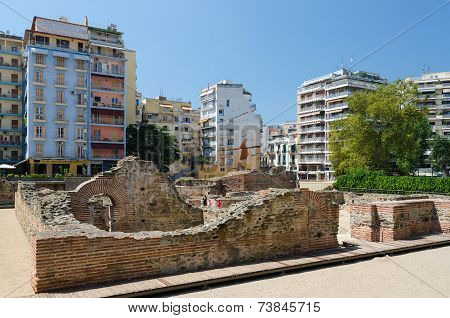 Greece, Thessaloniki. The Ruins Of The Palace Of The Roman Emperor Galerius (iii C.)