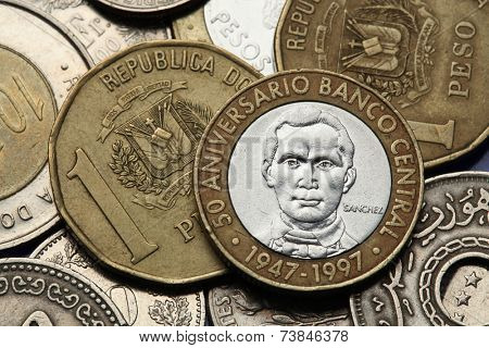 Coins of the Dominican Republic. Dominican national hero Francisco del Rosario Sanchez depicted in the Dominican five peso coin.