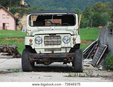 Wrecked Vehicle In Bosnia