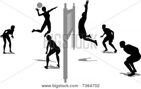 volleyball game silhouette vector