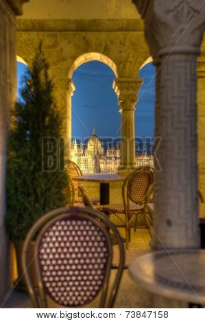 Café With A View To Parliament In Budapest