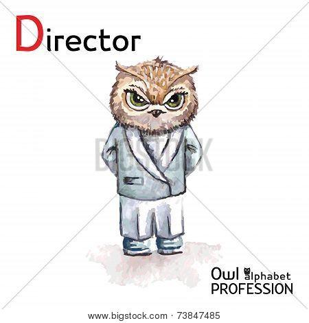 Alphabet professions Owl Letter D - Director character Vector Watercolor.