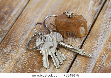 Bunch of keys on chain with little wooden elephant