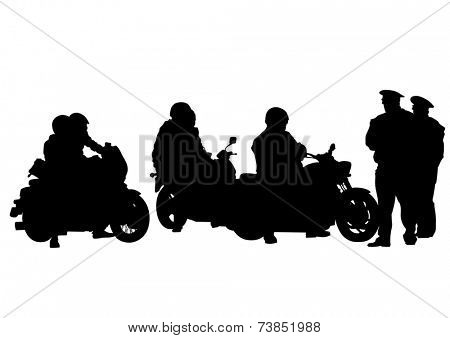 Motorcyclist performed and police on white background