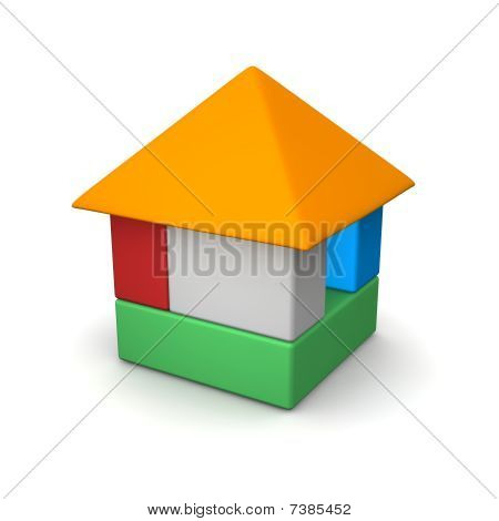 House built of color blocks