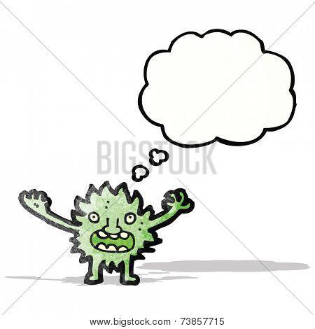 cartoon furry green monster