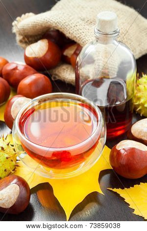 Herbal Tea Or Tincture Of Chestnuts And Sack With Horse Chestnuts