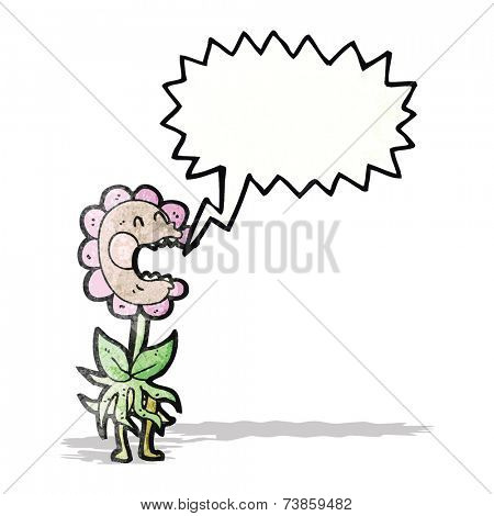 cartoon flower shouting