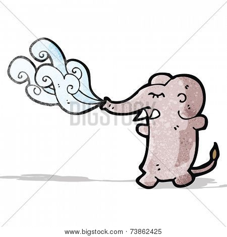 funny cartoon elephant squirting water