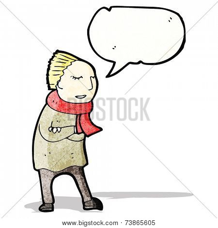 cartoon person wrapped up for winter