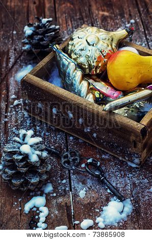 Christmas decorations in the old wooden box
