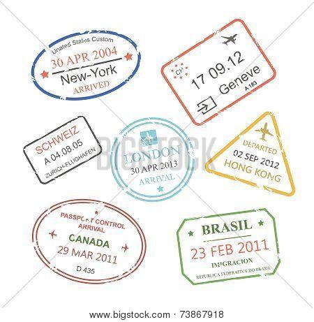 International business travel visa stamps set vector