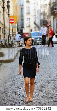 Girl Walking On The Old Town Street In Paris , France