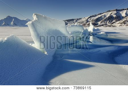 Crack in pack ice in a bay at Spitsbergen.