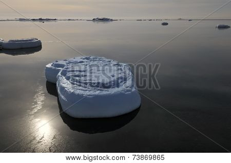 Ice lump in water