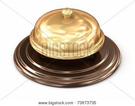 Golden bell over white