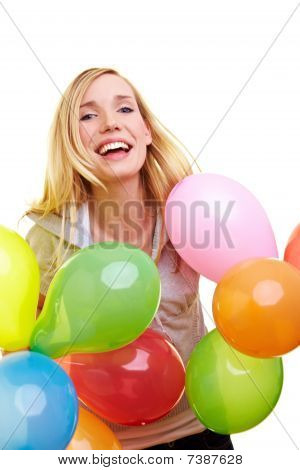 Blonde Woman Celebrating With Balloons