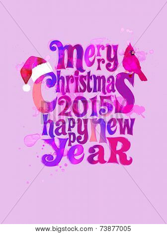 Watercolor Christmas - Christmas and New Year poster with Santa's cap and cardinal, watercolor vector effects