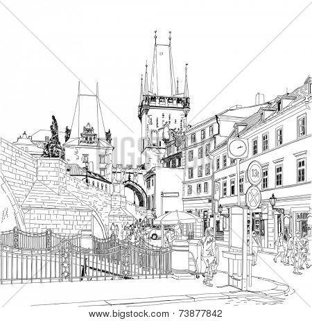 Charles Bridge - Prague, Czech Republic. Vector drawing