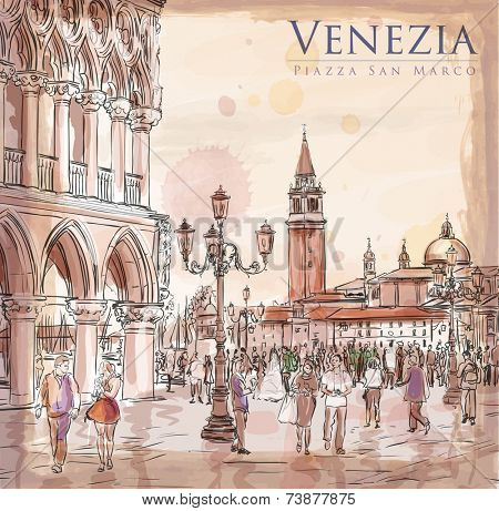 Venice. Piazza San Marco. Doge's Palace & the view of the island of San Giorgio Maggiore. Vector drawing. Eps10