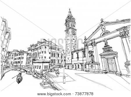 Ponte del Mondo Novo, Campo S.Maria Formosa. Venice, Italy. Black and white vector sketch