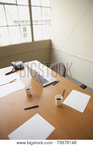 High angle view of vacant conference table