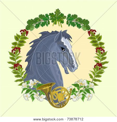 Black Horse Hunting Theme Vector