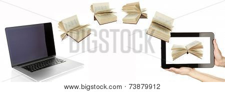 Information transfer. Books flying in tablet from laptop isolated on white