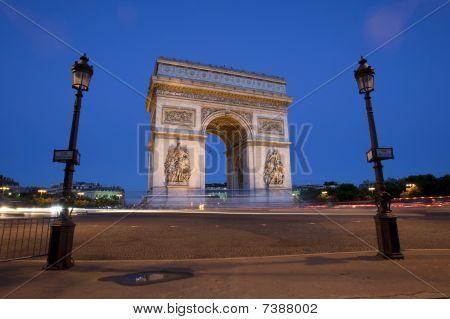 The Arc De Triomphe At Dusk