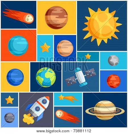 Background with solar system, planets and celestial bodies.