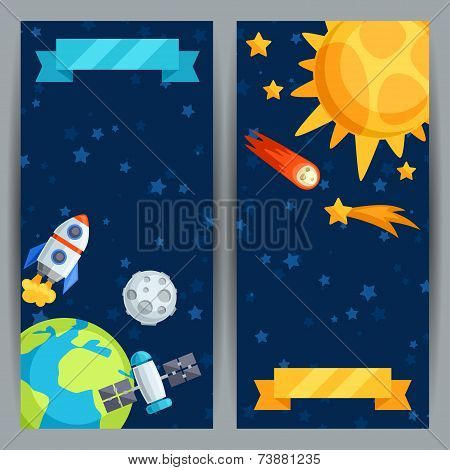 Vertical banners with solar system and planets.