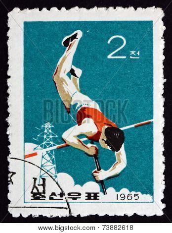Postage Stamp North Korea 1965 Pole Vault, Sport