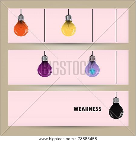 Creative Light Bulb Idea Concept Banner Background. Difference And Weakness Concept