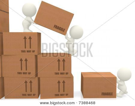 3D People Piling Up Boxes