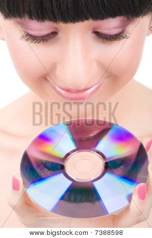 Young Beautiful Girl With Disk