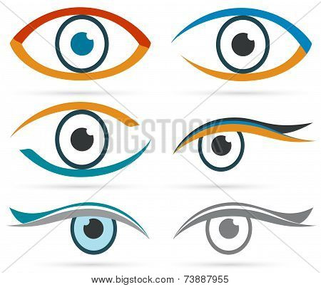 Colorful Icons Eye Vector Set For Design.