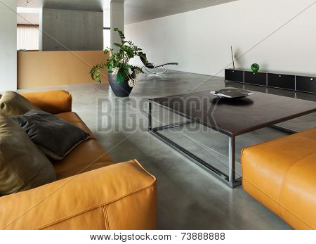 Modern living room, interior house, concrete walls