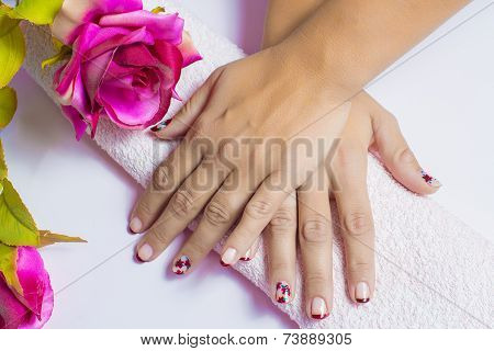 Woman Hands With Painted Nails