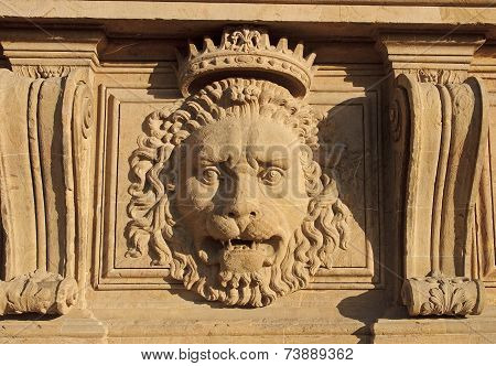Lion Head On The Facade Of Pitti Palace Museum In Florence