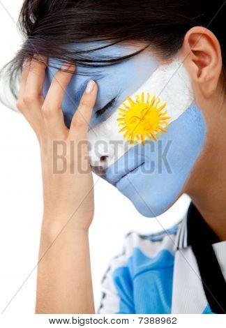 Fã de futebol argentino preocupado