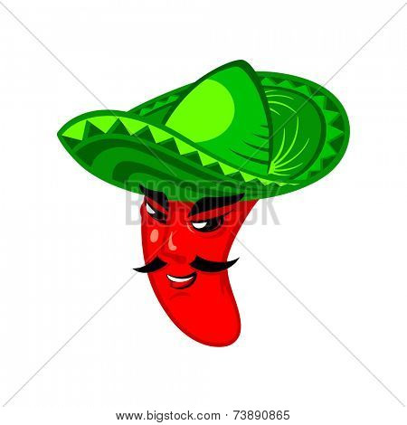 Hot mexican pepper man in sombrero hat