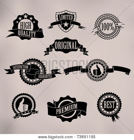 Black badges and ribbons on vintage background