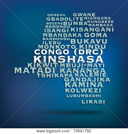 Congo (DRC) map made with name of cities - vector illustration