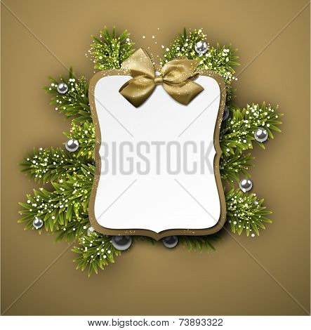 Christmas gift card with golden bow over spruce twigs. Vector illustration.
