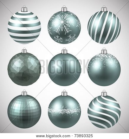 Dim christmas balls on white surface. Set of realistic decorations. Vector illustration.