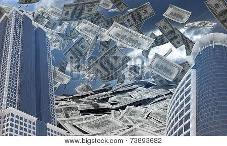 Business buildings. Dollars falling from the sky